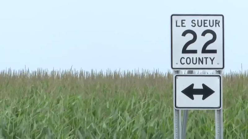 A Le Sueur County Road 22 sign is pictured Monday, July 26, 2021, in rural Le Sueur County, Minn.