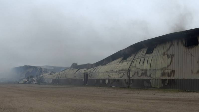 Pro Shed production facility continues to smoke after firefighters battled fire since early...