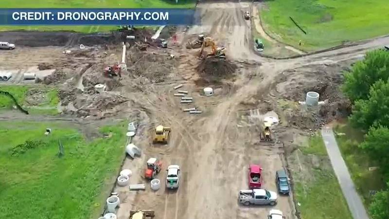 Construction continues to make progress at the intersection of Highway 14 and Riverfront Drive...