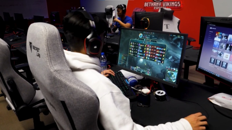 FILE — A member of the Bethany Lutheran College Vikings esports team is pictured playing League...