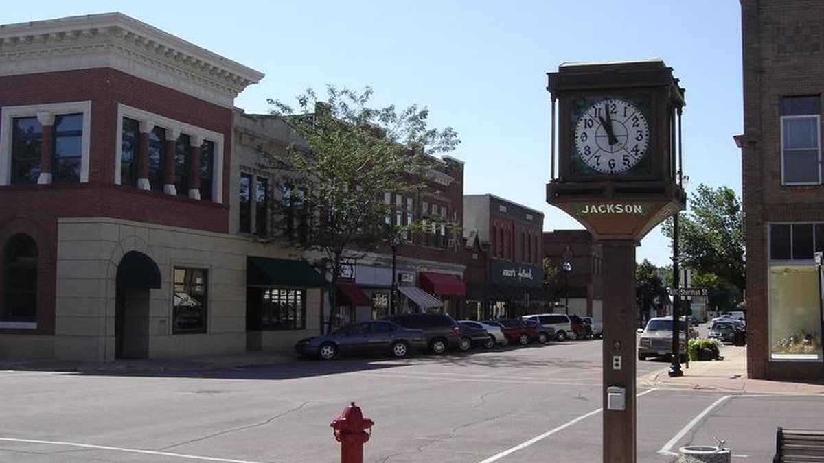 The famous clock counts the time on Main Street in Jackson, Minn.