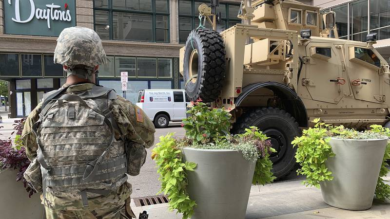 A Minnesota National Guardsman is pictured in downtown Minneapolis, Thursday, Aug. 27, 2020. An...