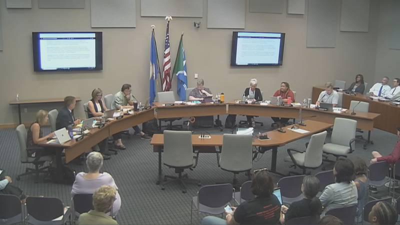 Mankato School Board members convene for a school board meeting Monday, July 20, 2021, in...